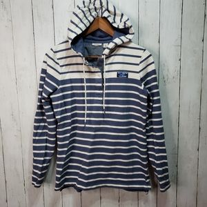 LL Bean Blue Ivory Striped Rugby Hoodie Pull Over